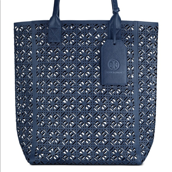 Tory Burch Handbags - Tory Burch Beach Navy perforated bag